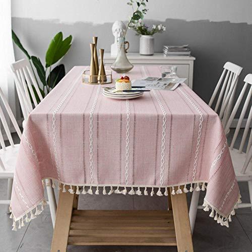 EDCV tafelkleedkatoen linneneettafelhoes Deco roze holle geborduurde jacquard gestreepte rechthoek tafelkleed kerst, ROZE