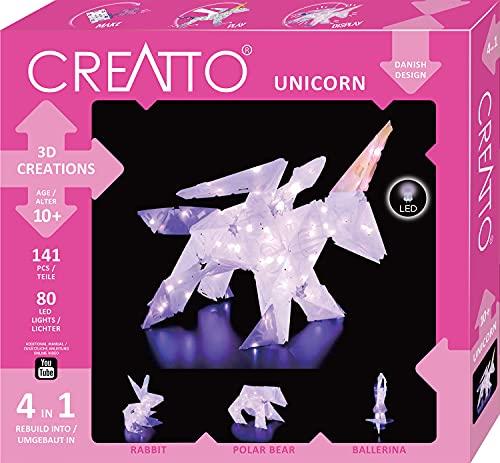 Kosmos CREATTO Einhorn 3D-Leuchtfiguren entwerfen, 3D-Puzzle-Set für Einhorn, Ballerina, Hase oder Eisbär, kreative Zimmer-Deko, 140 Steckteile, 80-tlg. LED-Lichterkette, für Kinder & Erwachsene