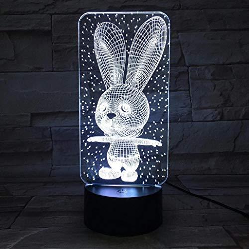 Bebé Dormitorio Lámparas Noche Luz de Dibujos Animados Conejo Plástico Dormir Led Kid Lámpara Bombilla Nightlight para Niños con 7 Colores Cambio