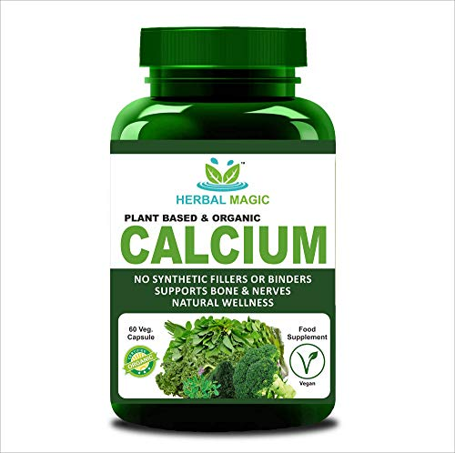Certified Organic Plant Based Calcium Veg Capsules - Super Boost 100% Fruit & Veg Mix Formula - 650 mg Calcium Per Serving - Whole Plant Used - No Bulking Agents/Synthetic extracts/preservatives