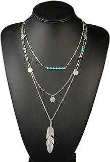 Leiothrix Boho Layered Leaf Pendant Necklace Silver...