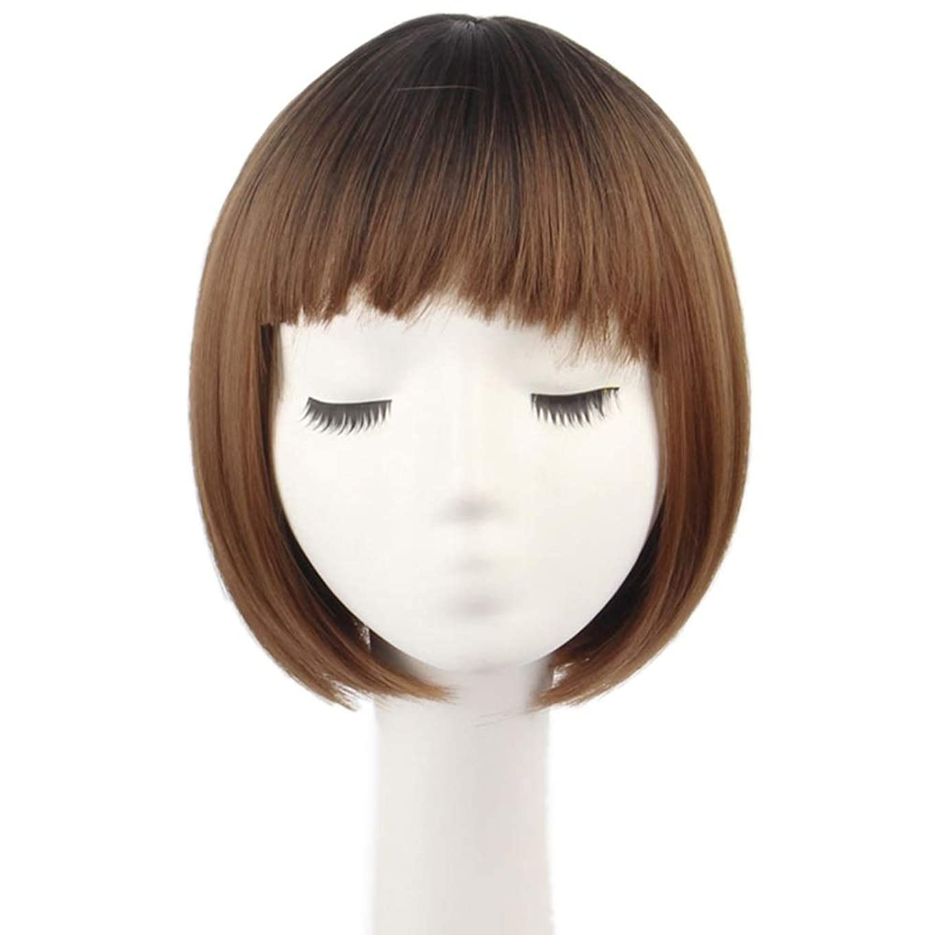 しないでくださいストライドアルネIsikawan 前髪付きふわふわボブ自然なハンサムかつら女性用デイリードレスダークルーツライトブラウンショート (色 : Photo Color, サイズ : 20 inches)