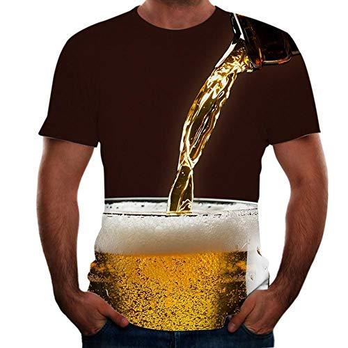 WAZA Herren 3D Grafik Bier Plus Size T-Shirt Kurzarm Ausgehen Tops Basic Rundhals Schwarz Gr. L, Schwarz