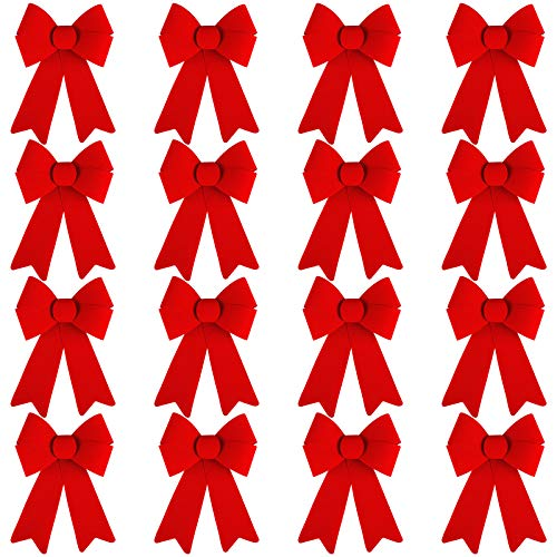 URATOT 16 Pack Red Christmas Wreaths Bows PVC Flannel Xmas Tree Decoration Bows for Christmas Crafts Ornaments Supplies, 5 x 8 Inches
