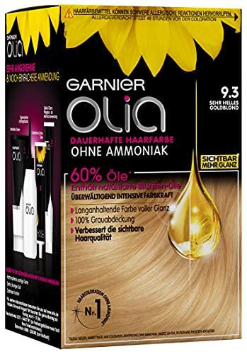 Garnier Olia Haar Coloration Sehr Helles Goldblond 9.3 / Färbung für Haare enthält 60% Blumen-Öle für intensive Farbkraft - Ohne Ammoniak - 3 x 1 Stück