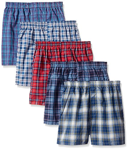 Fruit of the Loom boys Woven Boxer, Covered and Uncovered Waistband (Pack of 5), Assorted, Small