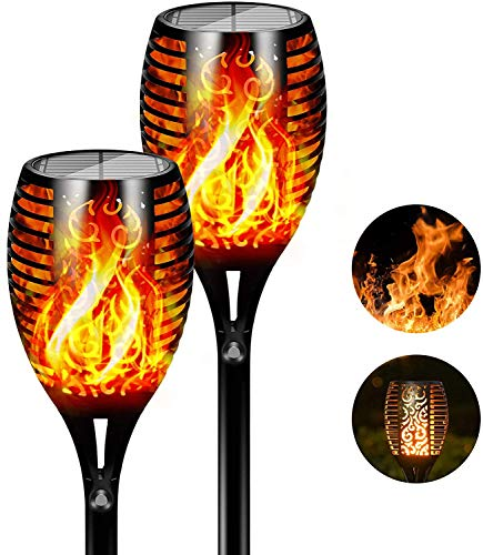 FLOWood Solar Torch Lights Waterproof Dancing Flickering Flame Solar Lights Landscape Decoration Lighting Dusk to Dawn Auto On/Off Security Solar Flame for Garden Patio Pathway (2pc)
