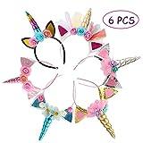 Kalolary 6 Pz Cerchietto con Corno di Unicorno Corno di unicorno Glitter Gold Cat Ears Fiori Unicorno Fascia per bambini Ragazze Headwear Accessorio per la decorazione del partito