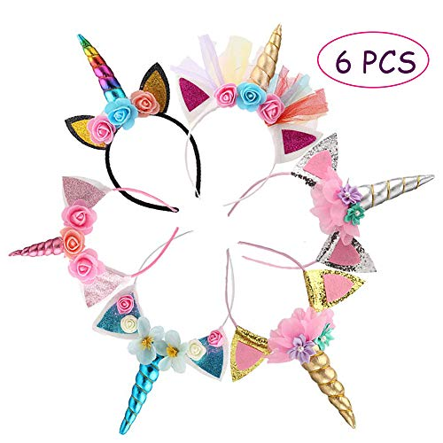 Kalolary 6 Pcs Licorne Corne Bandeau Serre-tête licorne avec Fleurs Glitter Or Chat Oreilles Fleurs Licorne Bandeau pour la Décoration De Fête Cosplay Costume D'anniversaire