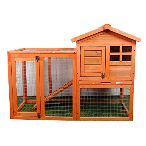 PURLOVE XINAIER Rabbit Hutch Wood House Pet Cage for Small Animals Chicken Coop Wooden Rabbit Hutch Outdoor Garden Backyard Hen House Wood Pet House Poultry Cage