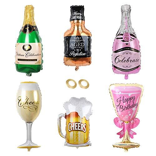 Huture 6PCS Globo de Botella Champán Gigante Botella De Cóctel Globos de Vino Mylar Globo de Helio Reutilizable Globos de Látex Enormemente Divertidos para Decoración de Fiesta Cerveza Cumpleaños