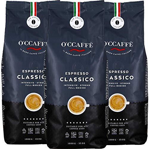 O'CCAFFÈ – Espresso Classico | 3 x 1 kg ganze Kaffeebohnen | starker, intensiver Kaffee mit feiner Haselnuss Note | Barista-Qualität aus italienischem Familienbetrieb