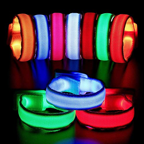 BHSHOP 12 Pieces Christmas LED Bracelet Light Up Bracelets LED Light Bracelet Led Armbands Flashing Sports Wristband High Visibility Gear for Christmas Party, Running, Cycling, Concerts, Festivals BHS