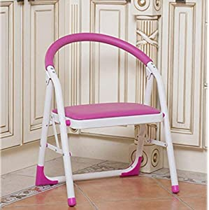 WLG Household Step Stool  Photography Folding Step Stool  Home Single Layer Ladder with Handrail Multifunction Folding Ascend Chair Pink