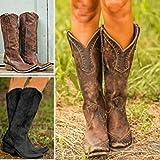UMOOIN DonnaStivali da Donna, in Pelle Vintage Occidentale Stivali da Cowboy Boots Faux Al...