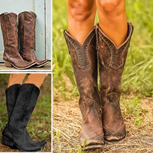 UMOOIN DonnaStivali da Donna, in Pelle Vintage Occidentale Stivali da Cowboy Boots Faux Alta Boots Steam Punk Studs Pirate Boots Distressed Shoes,Marrone,39