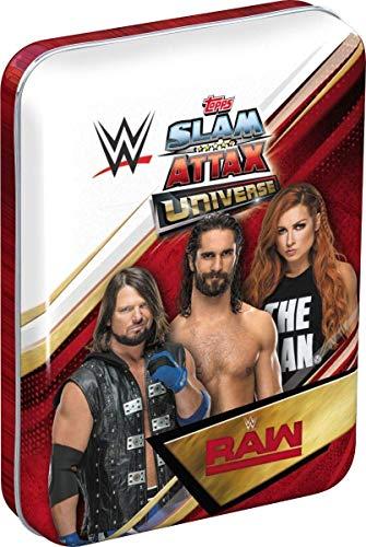 Topps FS0000705 - Slam Attax Sammelkarten WWE, Mini Sammeldose mit 34 Sammelkarten und 1 von 3 limitierten Karten, Dose sortiert in 3 verschiedenen Designs