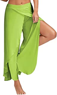 BOZEVON Ladies Pilates Pants,Plus Size Yoga Pants,High Waist Elasticated Bottoms,Harem Hippie Trousers Casual Pants (Green...