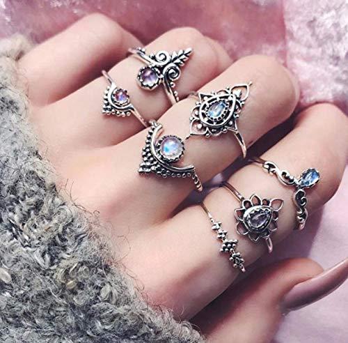 Yean Boho Ring Set Zilveren Gezamenlijke Knuckle Ring Stapelringen voor Vrouwen en Meisjes (7 Stks)