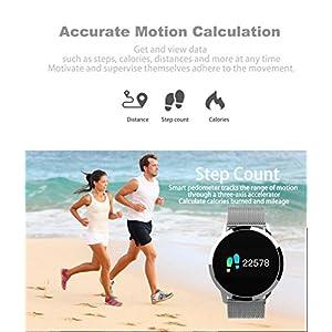 Smartwatch, Reloj Inteligente Bluetooth Smart Watch Hombres Mujeres Niños IP67 Impermeable Deportes Fitness Tracker,Pulsómetro,Recordatorio de llamada,Podómetro,SMS,Pulsera para Android y iOS (Plata)