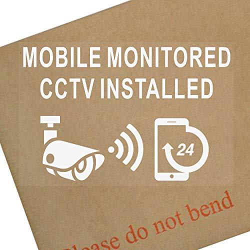 Platinum Plaats 6 x CCTV-Mobile Gecontroleerd Installed-130mm WINDOW-Wit op Clear-24hr Beveiliging Waarschuwing Camera Vinyl Tekenen Stickers Video-opname
