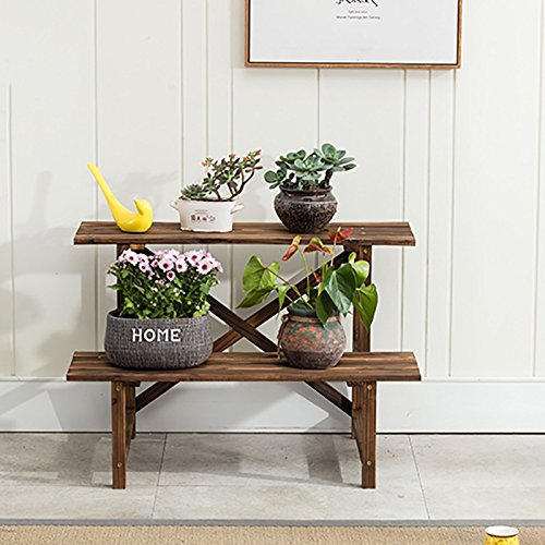 HAMIMI Multi-Storey Wooden Flower Pot Rack Storage Rack Bedroom Living Room Balcony Flower Stand (Size : 805254CM)