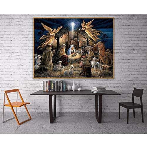 Pintura de diamantes religión Jesús nacimiento bordado de diamantes conjunto completo mosaico de diamantes decoraciones de diamantes de imitación