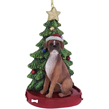 Boxer with Tree and Lights Ornament