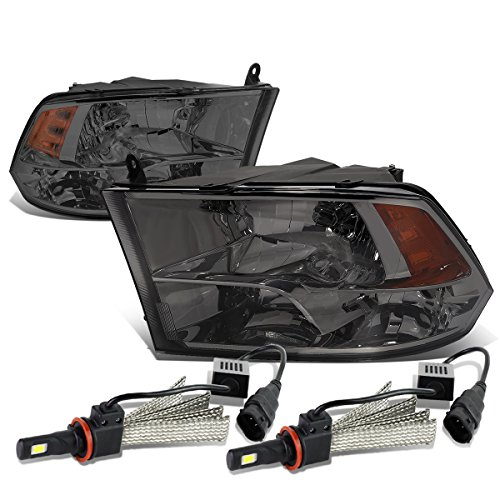 Replacement for Dodge Ram 4th Gen Pair of Smoked Housing Amber Corner Quad Headlight + H8 LED Conversion Kit