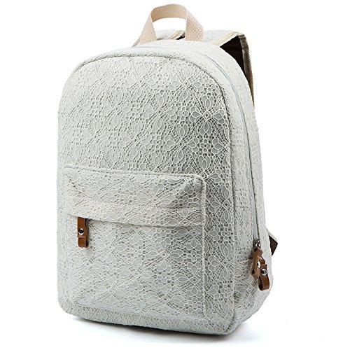 Minetom Damen Schulrucksack Weißer Spitze Schulranzen Schultasche Rucksack Freizeitrucksack Daypacks Backpack Weiß One Size