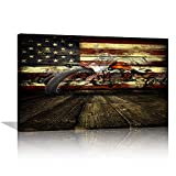 AMEMNY Motorcycle Wall Art American Flag Wall Decor Motorcycle Canvas Painting Artwork Retro American Flag Art Motorcycle Art Motorcycle Picture Print Wall Decor for Living Room Framed Ready to Hang