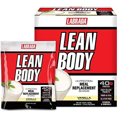 Lean Body MRP All-In-One Vanilla Meal Replacement Shake, 40g Protein, Whey Blend , 8g Healthy Fats EFA's & Fiber, 22 Vitamins and Minerals , No artificial color, Gluten Free, (20 Packets)