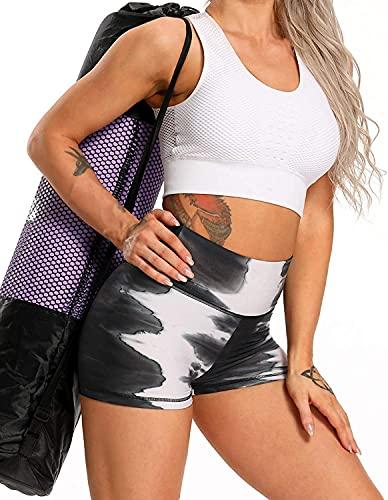 Pudyor Pantalones Cortos de Cintura Alta de Estampado Leggins de Levante los Cadera Shorts Deportivos Transpirables Elásticos Mallas de Yoga Pantalón de Deporte para Correr Gym Fitness