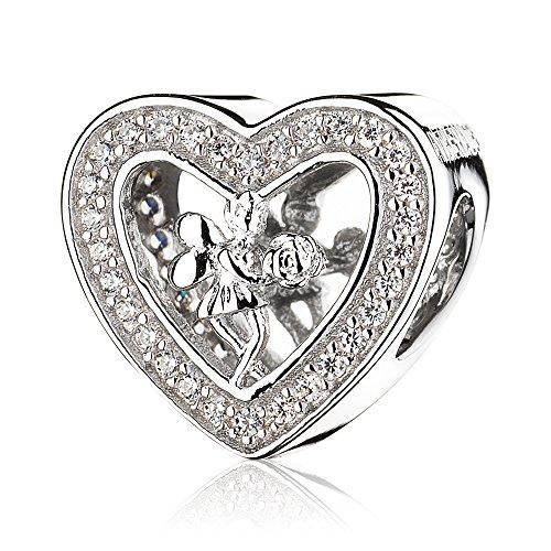 ATHENAIE 925 sterling silver plåster klar CZ ängel ros hjärta pärla charm
