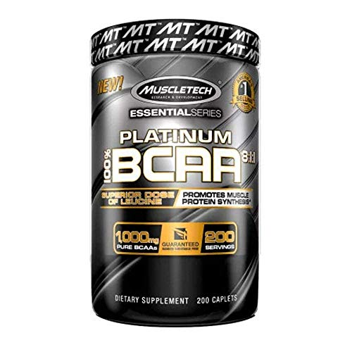 Muscletech Platinum BCAA 8:1:1 Sports Supplement Capsules, 200-Piece