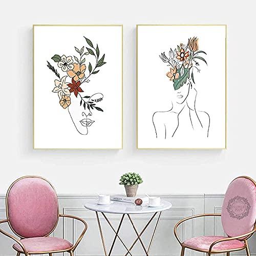 SXXRZA Cartel de Arte Cartel de niña y Flor Dibujo de líneas abstractas impresión de Arte minimalismo Pintura de Pared Sala de Estar decoración del hogar 2 Piezas 30x50cm sin Marco