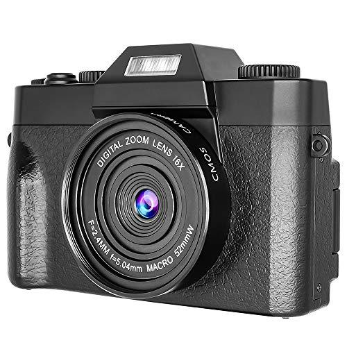 Digitalkamera Vlogging Kamera für YouTube, 16-fach digitaler Zoom, 30 MP, 2,7 K Full HD Kamera mit 180° drehbarem Flip-Bildschirm, Taschenlampe, 2 Batterien (1500 mm), Mikrokarte