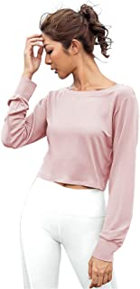Ersuely Long-Sleeves High Sexy Open Back Crop Top Cute Work Out Gym Sweatshirt High Neck Loose Yoga Autumn Shirt with Strap