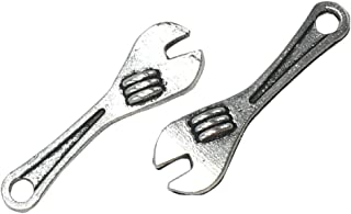 Yansanido Pack of 50 Alloy Antique Wrench 258mm Charms Pendants for Making Bracelet and Necklace (Wrench 50pcs Silver)