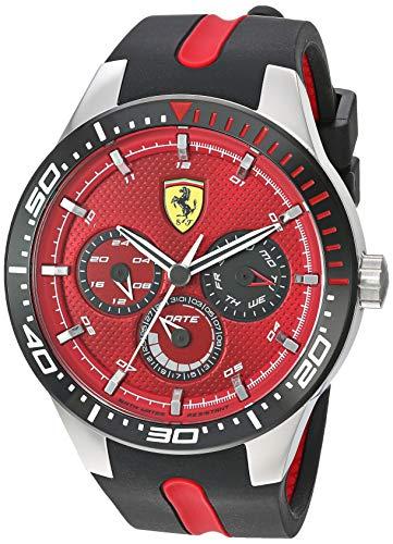 Ferrari Men's Stainless Steel Quartz Watch with Silicone Strap, Black, 22 (Model: 0830588)