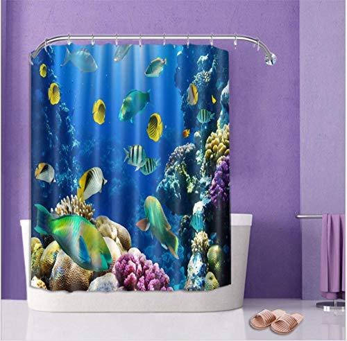 FAIEK Duschvorhang 120X180Cm Badezimmer Polyester Stoff Wasserdicht Schimmelbeständig Und Maschinenwaschbar Badvorhänge Mit 12 Haken, Aquarium