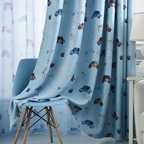 adaada Vorhänge Auto Kinderzimmer,Vorhänge Kinderzimmer Junge,Vorhänge für Kleine Fenster,2er Set (230X100cm, Blau)
