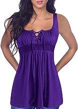 Womens Crisscross V Neck Top,👍ONLYTOP👍 Women's Summer Sleeveless Plus Size Casual Tank Tops Basic Lace Up Blouse