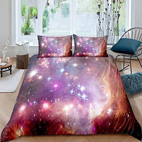 RONGXIE Purple Galaxy Space Starry Aries Science Fiction Landscape - Single (135 X 200 Cm) - Duvet Cover & Pillowcase Set Bedding Quilt Case Single Double King Super King