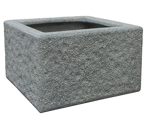 Dehner Brunnen- und Topfumrandung Rocky, ca. 62 x 62 x 38 cm, Leichtbeton, grau