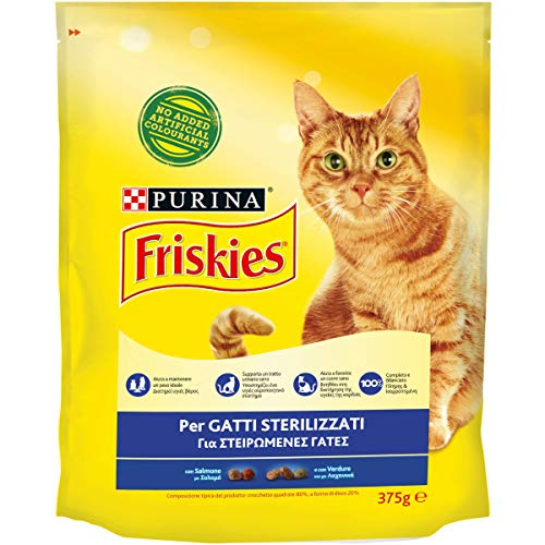 Purina Friskies Croquettes pour Chat stérilisées avec Saumon et légumes ajoutés, 12 Sacs de 375 g chacun