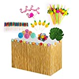 Comius Sharp 87 piezas decoraciones de fiesta hawaianas, falda de mesa hawaiana de 9 pies, hojas de palma, flores, adorno de magdalenas y pajitas para decoraciones de fiestas en jardines tropicales