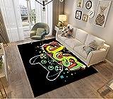 3D Gamer Alfombras Dormitorio Juvenil Chico Chica Infantiles Niño Adulto Juegos Video Alfombras De Habitacion Rectangular Lavables Pelo Corto Grandes Pequeñas Alfombras Salon (Negro d,100x150 cm)