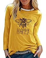Cloudro Ladies Tops, Women Casual Bee Letter Print Patchwork Long Sleeve Pullover Loose Blouse Tops Yellow