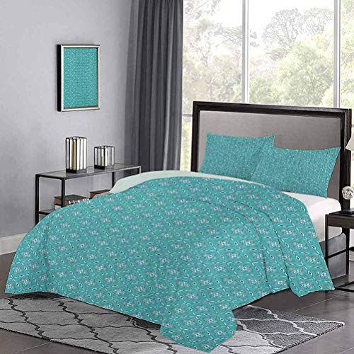 Duvet Cover Moroccan in Geometric Rectangular Frames with Floral Arrangement Modern Simple Quilt Cover Minimalistic Design and Color Turquoise Dark Blue White